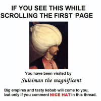 nice hat: IF YOU SEE THIS WHILE  SCROLLING THE FIRST PAGE  You have been visited by  Suleiman the magnificent  Big empires and tasty kebab will come to you  but only if you comment  NICE HAT in this thread nice hat