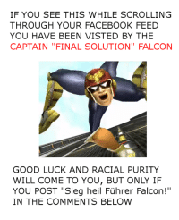 """IF YOU SEE THIS WHILE SCROLLING  THROUGH YOUR FACEBOOK FEED  YOU HAVE BEEN VISTED BY THE  CAPTAIN """"FINAL SOLUTION"""" FALCON  GOOD LUCK AND RACIAL PURITY  WILL COME TO YOU, BUT ONLY IF  YOU POST """"Sieg heil Fuhrer Falcon!""""  IN THE COMMENTS BELOW Thanks Führer Falcon! . . . . . . . https://gyazo.com/eca0786b1afeb937449c477f82eb5bb0  Will schedule some variants of this for later"""
