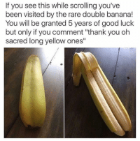 """Memes, Thank You, and Banana: If you see this while scrolling you've  been visited by the rare double banana!  You will be granted 5 years of good luck  but only if you comment """"thank you oh  sacred long yellow ones"""" 😂🙄"""
