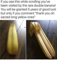 "Dank, Thank You, and Banana: If you see this while scrolling you've  been visited by the rare double banana!  You will be granted 5 years of good luck  but only if you comment ""thank you oh  sacred long yellow ones"" Double penetration anyone?"