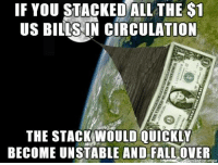 Circulation: IF YOU STACKED ALL THE S1  US BILLS IN CIRCULATION  THE STACK WOULD QUICKLY  BECOME UNSTABLE AND FALLOVER