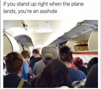 Funny, Smh, and Asshole: if you stand up right when the plane  lands, you're an asshole Tag this person smh