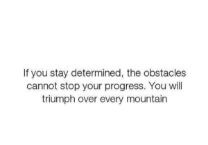 Triumph, Will, and You: If you stay determined, the obstacles  cannot stop your progress. You will  triumph over every mountain