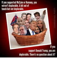Donald Trump, Memes, and Touche: If you supported McCain or Romney, you  weren't deplorable. A bit out of  touch but not deplorable.  If you  support Donald Trump, you are  deplorable. There's no question about it?