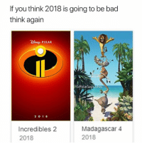 Bad, Memes, and Pixar: If you think 2018 is going to be bad  think again  es PIXAR  IGPolarSaurusRex  Incredibles 2  2018  Madagascar 4  2018 We are one step closer