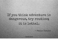 instagram.com/thinkingmindspage: If you think adventure is  dangerous, try routine;  it is lethal.  Paulo Coelho instagram.com/thinkingmindspage