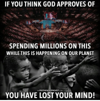 Easter, Facebook, and God: IF YOU THINK GOD APPROVES OF  SPENDING MILLIONS ON THIS  WHILE THIS IS HAPPENING ON OUR PLANET  ACOM  YOU HAVE LOST YOUR MIND! 💭 You don't need Religion to have Morals. If you can't determine Right from Wrong then you lack Empathy, not Religion... ✌️ Join Us: @TheFreeThoughtProject 💭 TheFreeThoughtProject Religion Easter HappyEaster Empathy Morality EasterBunny 💭 LIKE our Facebook page & Visit our website for more News and Information. Link in Bio... 💭 www.TheFreeThoughtProject.com