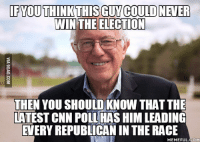racing: IF YOU THINK THIS GUYCOULD NEVER  WIN THE ELECTION  THEN YOU SHOULD KNOW THATTHE  LATEST CNN POLLHASHIM LEADING  EVERY REPUBLICAN IN THE RACE  MEMEFUL COM