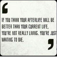 Memes, Atheism, and 🤖: IF YOU THINK YOUR AFTERLIFE WILL BE  BETTER THAN YOUR CURRENT LIFE,  YOU'RE NOT REALLY LIVING. YOU'RE JUST  WAITING TO DIE ~AZ   Philosophical Atheism (INSIDERS)
