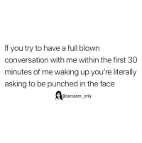 SarcasmOnly: If you try to have a full blown  conversation with me within the first 30  minutes of me waking up you're literally  asking to be punched in the face  @sarcasm_only SarcasmOnly