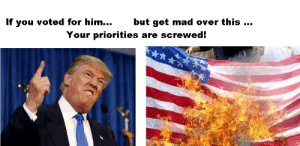 Trump, Mad, and Him: If you voted for him...but get mad over this  Your priorities are screwed! Are you upset at Trump protesters burning US flags?
