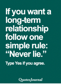 """<3: If you want a  long-term  relationship  follow one  simple rule  """"Never lie.""""  Type Yes if you agree.  uotes Journal <3"""