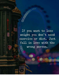 Fall, Love, and Exercise: If you want to lose  weight you don't need  exercise or diet. Just  fall in love with the  wrong person.