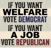 Memes, 🤖, and Job: IF YOU WANT  WELFARE  VOTE DEMOCRAT  IF YOU WANT  A JOB  VOTE REPUBLICAN