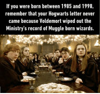 9gag, Dank, and Http: If you were born between 1985 and 1998  remember that your Hogwarts letter never  came because Voldemort wiped out the  Ministry's record of Muggle born wizards. Heck I'm not even afraid to say his name! Damn Voldemort! 👃🏻 http://9gag.com/gag/a25R2rD/movie-tv?ref=fbsc
