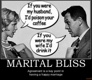 Happy Marriage: If you were  my husband,  Id poison your  coffee  If you  were my  wife I'd  drink it  MARITAL BLISS  Agreement is a key point in  having a happy marriage  motifa