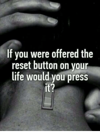 Memes, 🤖, and Fake Bitches: If you were offered the  reset button on your  life would you press  it? Fuck Fake Bitches