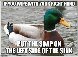 World, Only One, and Advice Animals: IF YOU WIPE WITH YOUR RIGHT HAND  PUTTHE SOAP ON  THE LEFT SIDE OF THE SINK  imgilp.com Ever have those epiphanies that should've been obvious and you just want to tell the world in case you're not the only one