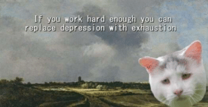 Me irl: If you work hard enough you can  replace depression with exhaustion Me irl