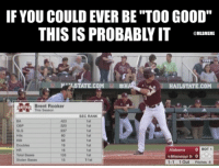 "It's just too easy for him. 😂😂: IF YOUCOULD EVER BE ""TOO GOOD""  THIS ISPROBABLY IT  MLBMEME  TATE COM  HAILSTATE.COM  Brent Rooker  This Season  SEC RANK  1st  BOT 1  Alabama  1st  Mississippi St 0  Stolen Bases  15  T1st  1-1 1 Out  Pitches 6 It's just too easy for him. 😂😂"