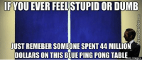 Money well spent?: IF YOUEVER FEELSTUPID OR DUMB  JUST REMEBER SOMEONE SPENT 44 MILLION  DOLLARS ON THIS BLUE PING PONG TABLE  tty Images Money well spent?