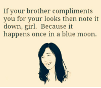 Blue Moon: If your brother compliments  you for your looks then note it  down, girl. Because it  happens once in a blue moon