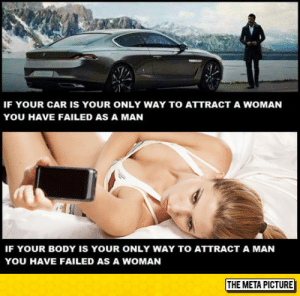 laughoutloud-club:  You Have Failed: IF YOUR CAR IS YOUR ONLY WAY TO ATTRACT A WOMAN  YOU HAVE FAILED AS A MAN  IF YOUR BODY IS YOUR ONLY WAY TO ATTRACT A MAN  YOU HAVE FAILED AS A WOMAN  THE META PICTURE laughoutloud-club:  You Have Failed