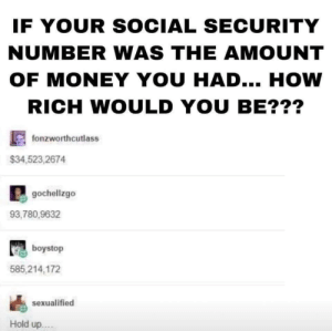 Natural selection: IF YOUR SOCIAL SECURITY  NUMBER WAS THE AMOUNT  OF MONEY YOU HAD... HOW  RICH WOULD YOU BE???  fonzworthcutlass  $34,523,2674  gochellzgo  93,780,9632  boystop  585,214,172  sexualified  Hold up.. Natural selection
