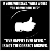 """What Would You Do Meme: IF YOUR WIFE SAYS, """"WHAT WOULD  YOU DO WITHOUT ME?""""  """"LIVE HAPPILY EVER AFTER,""""  IS NOT THE CORRECTANSWER."""