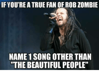 Zombie: IF YOU'RE A TRUE FAN OF ROB ZOMBIE  NAME 1 SONG OTHER THAN  THE BEAUTIFUL PEOPLE