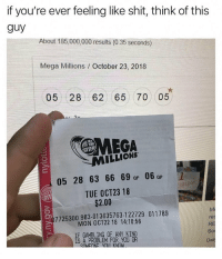 This can't be real.. 😳😩 https://t.co/bh3ORcT3o3: if you're ever feeling like shit, think of this  guy  About 185 000,000 results (0.35 seconds)  Mega Millions / October 23, 2018  05 28 62 65 70 05  MEGA  MILLIONS  05 28 63 66 69 a 06  TUE OCT23 18  QP  Qp  $2.00  7725300983-01 3635763-1 22729 011789  MON OCT22 18 14:10:56  IF GAMBLING OF ANY KIND  1S A PROBLEM FOR YOU OR  res  RE  So  Da This can't be real.. 😳😩 https://t.co/bh3ORcT3o3