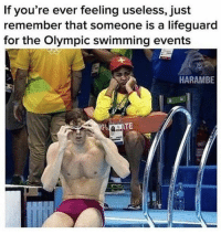 If you're feeling useless: If you're ever feeling useless, just  remember that someone is a lifeguard  for the Olympic swimming events  HARAMBE If you're feeling useless