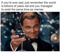 Memes, Time, and World: If you're ever sad, just remember the world  is billions of years old and you managed  to exist the same time as memes