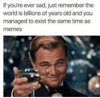 If you're ever sad, just remember the  world is billions of years old and you  managed to exist the same time as  memes One in a million uplifting post