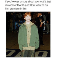 Memes, 🤖, and Boss: If you're ever unsure about your outfit, just  remember that Rupert Grint went to his  first premiere in this What a boss 😂