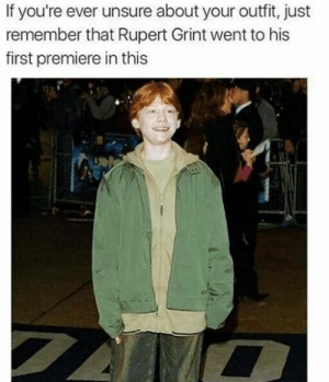 Casual AF: If you're ever unsure about your outfit, just  remember that Rupert Grint went to his  first premiere in this  ts Casual AF
