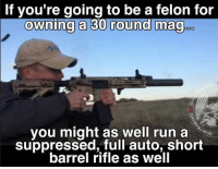 Memes, 🤖, and Mag: If you're going to be a felon for  owning a 30 round mag  you might as well run a  suppressed, full auto, short  barrel rifle as well