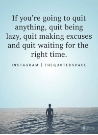 <3: If you're going to quit  anything, quit being  lazy, quit making excuses  and quit waiting for the  right time.  INSTA GRAMI THE Q UOTEDSPACE <3