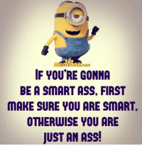 smart ass: IF YOU'RE GONNA  BE A SMART ASS. FIRST  MAKE SURE YOU ARE SMART,  OTHERWISE YOU ARE  JUST AN ASS!