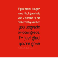 True: if you're no longer  in my life, i genuinely  wish u the best i'm not  bothered by whether  you upgrade  or downgrade  i'm just glad  you're gone  The Ultimate Quotes.com True