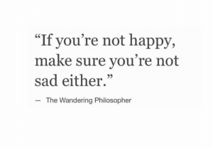 "philosopher: ""If you're not happy,  make sure you're not  sad either.""  CS  The Wandering Philosopher"