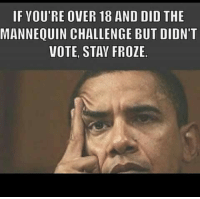 challenge: IF YOU'RE OVER 18 AND DID THE  MANNEQUIN CHALLENGE BUT DIDN'T  VOTE, STAY FROZE.
