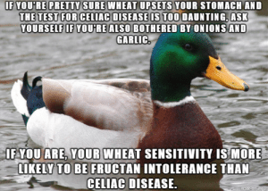 Bad, Test, and Ask: IF YOU'RE PRETTY SURE WHEAT UPSETS YOUR STOMACH AND  THE TEST FOR CELIAC DISEASE IS TOO DAUNTING, ASK  VOURSELF IF YOU'RE ALSO BOTHERED BY ONIONS AND  GARLIC.  OF YOU ARE, YOUR WHEAT SENSITIVITY IS MORE  LIKELY TO BE FRUCTAN INTOLERANCE THAN  CELIAC DISEASE  made on imaur However bad you think eliminating onions and garlic will be, the celiac test is worse if you actually have celiac disease