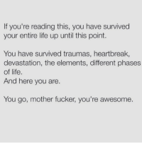 Memes, If Youre Reading This, and 🤖: If you're reading this, you have survived  your entire life up until this point.  You have survived traumas, heartbreak,  devastation, the elements, different phases  of life.  And here you are.  You go, mother fucker, you're awesome. @browneyes.thickthighs GIVES ME DAILY INSPO, LOVE AND LAUGHS! Go follow - RIGHT NOW! @browneyes.thickthighs @browneyes.thickthighs ❤