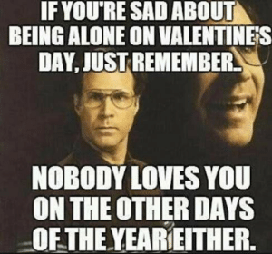 Best Anti-Valentine's Memes: Singles Awareness Day 2018 | Heavy.com: IF YOU'RE SAD ABOUT  BEING ALONE ON VALENTINES  DAY, JUST REMEMBER  NOBODY LOVES YOU  ON THE OTHER DAYS  OF THE YEAREITHER. Best Anti-Valentine's Memes: Singles Awareness Day 2018 | Heavy.com