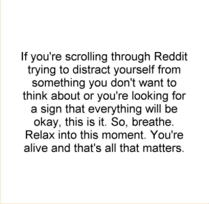 Alive, Reddit, and Okay: If you're scrolling through Reddit  trying to distract yourself from  something you don't want to  think about or you're looking for  a sign that everything will be  okay, this is it. So, breathe  Relax into this moment. You're  alive and that's all that matters me❤️irl