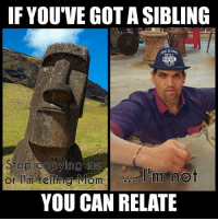 Funny, Love, and Memes: IF YOU'VE GOT A SIBLING  989  Stop copying me  or h telling Momo'm not  YOU CAN RELATE this greatkhali pic, is the gift that keeps on giving. wwe wwememes raw sdlive wrestling funny like follow share njpw roh love laugh haha memes jokes likes nxt dankmemes ig sibling brother sister mom