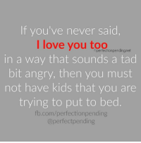 Credit: Ripped Jeans and Bifocals by Jill Robbins: If you've never said  I love you too  Operfectionpending.net  in a way that sounds a tad  bit angry, then you must  not have kids that you are  trying to put to bed  fb.com/perfection pending  perfect pending Credit: Ripped Jeans and Bifocals by Jill Robbins