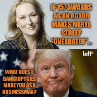 "Memes, Overrated, and 🤖: IF15AWARDS  AS AN ACTOR  MAKES MERY  STREEP  ""OVERRATED""  eft  WHAT DOES6  BANKRUPTCIES  MAKE YOUAS A  BUSINESSMAN? Failed Businessman. Failed President."