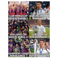 Club, Memes, and World Cup: IFA  CLUB WORLD OUP  WON BY CRISTIANO  CLUB WORLD CUP  LLS & MEMES  UEFA SUPERCUP UEFA SUPER CUP  WON BY BARCA: 3 WON BY RONALDO: 5  AR  CHAMPIONS LEAGUE CİAMPİONSLEAGUE  WON BY BARCA: 5 WON BY RONALDO5 Ronaldo > Barcelon 😆👊